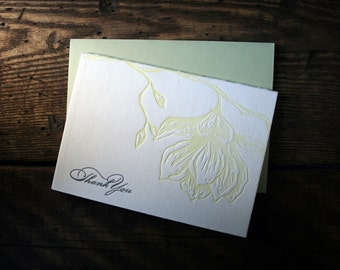 Letterpress Printed Magnolia Thank You Card - single