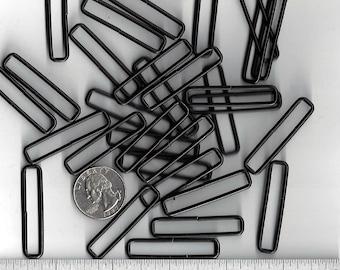 """100 PIECES - 1 1/2"""" x 3/16"""" - Metal SPLIT Rectangular Loop Ring, BLACK Finish - 14 gauge"""