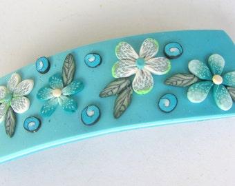 Blue Flower Leaf Polymer Clay Hair Barrette Spiral Turquoise