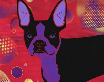 boston terrier print, boston terrier art - dog pop art - angela bond art - dog portraits