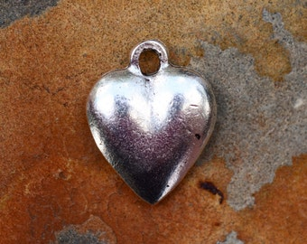 1 Antique Silver Large Puffed Heart Charm 15 x 12mm Nunn Designs