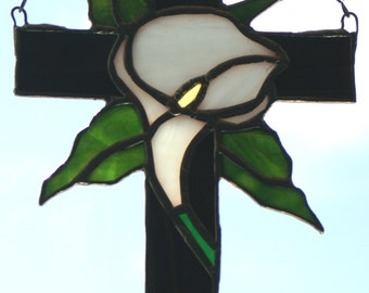 Stained Glass Cross and  White rippled glass for the Cala  Lilly Suncatcher Hand made