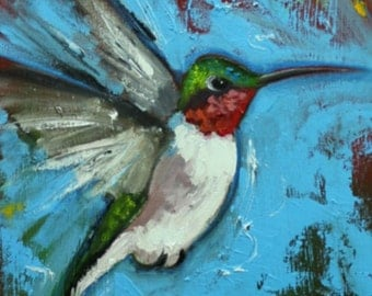 Birds painting 139 Hummingbirds 12x36 inch portrait original oil painting by Roz