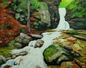 Waterfall 1 24x30 inch original impasto impressionistic landscape oil painting by Roz