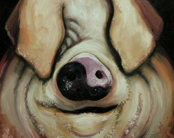 Pig painting 198 20x20 inch original oil painting by Roz