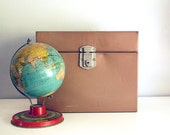1960s Metal File Box Bronze Porta-File Office Storage Container Paper Organizer Vintage Industrial Cabinet Brown Urban Decor Mid Century