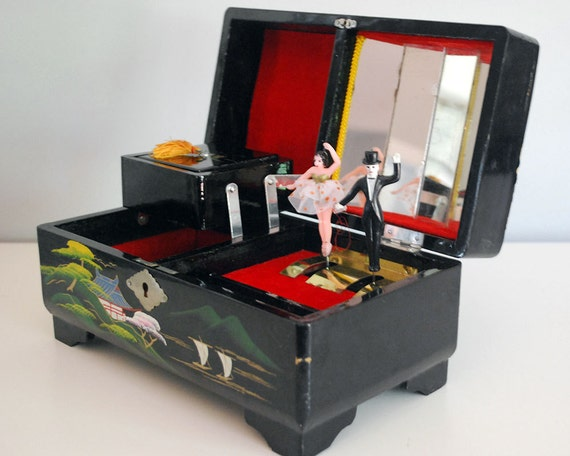 1950s Japanese Lacquer Music Box Vintage Wood Jewelry Box Two