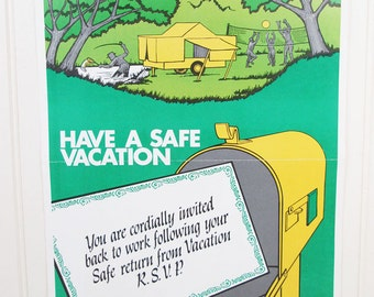 Vintage Work Safety Poster Have A Safe Vacation Illustrated Ohio