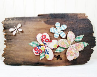 Vintage Wood Wall Hanging Plaque Fabric Flowers Art Wooden Handmade Retro