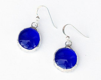 EARRINGS - Stained Glass Earrings, Blue Round Earrings