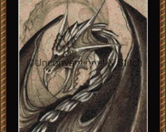 Black Dragon fantasy cross stitch pattern