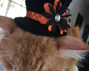 Crochet Top Hats for Cats - Black and Orange