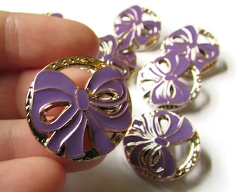 10 25mm Purple Bow Buttons 25mm Shank Buttons Gold Buttons Plastic Buttons Round Buttons Enamel Buttons