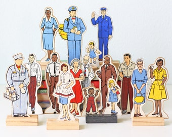 Vintage Wooden People Play Figures, by Guidecraft