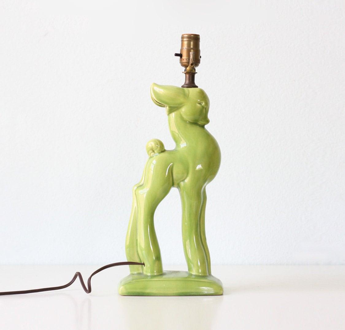 Deer Of Green Lamp : Vintage green deer lamp