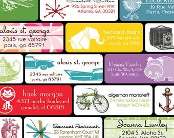 Shop Special - Choose 2 designs - 180 Return Address Labels (6 sheets of rectangular 30 labels) for 28.00