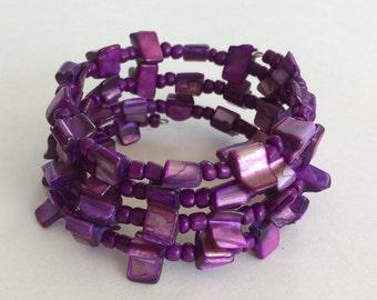 Purple shell bead memory wire bracelet