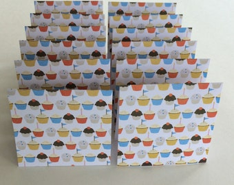 Mini Cards 12 Cupcakes - blank for thank you notes 3 x 3
