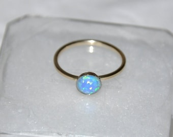 Gold Opal Ring, Stacking Ring, Gemstone Ring, White Opal, Blue Opal, size 7,  Australian Opal, Opal Jewelry, Gold filled
