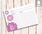 Recipe Cards, Flower, Dahlia, Garden, Bloom, Blossom, Purple, Plum, Lilac, Green, Digital File, Download, Printable, Cooking, Kitchen, Food