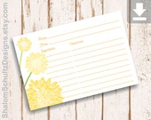 Recipe Cards, Flower, Dahlia, Garden, Bloom, Blossom, Yellow, Lemon, Dark, Green, Digital File, Download, Printable, Cooking, Kitchen, Food