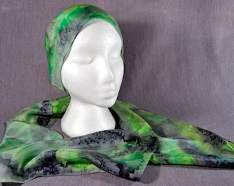 Hand painted silk scarf, rectangular, in green, grey, black, and a hint of yellow