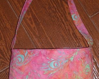 Peacock feather batik toddler purse