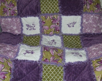Personalized Custom Rag Quilt HummingBird ROYAL Purple n MOSS Teen or Adult Humming Bird Throw w/ Minky ** Ready To Ship ** GREAT Gift