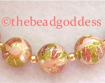 New Size 5 Beautiful Japanese Tensha Beads PINK BLOSSOM on PEARL 10mm