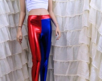 Harley Quinn Suicide Red Blue Split Stretch Lycra Leggings Adult All Sizes MTCoffinz