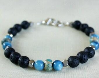 Mens Bracelet, Lava Rock Bracelet, Strength Bracelet, Meditation Bracelet, Gift For Him, Gift For Boyfriend, Gift For Dad