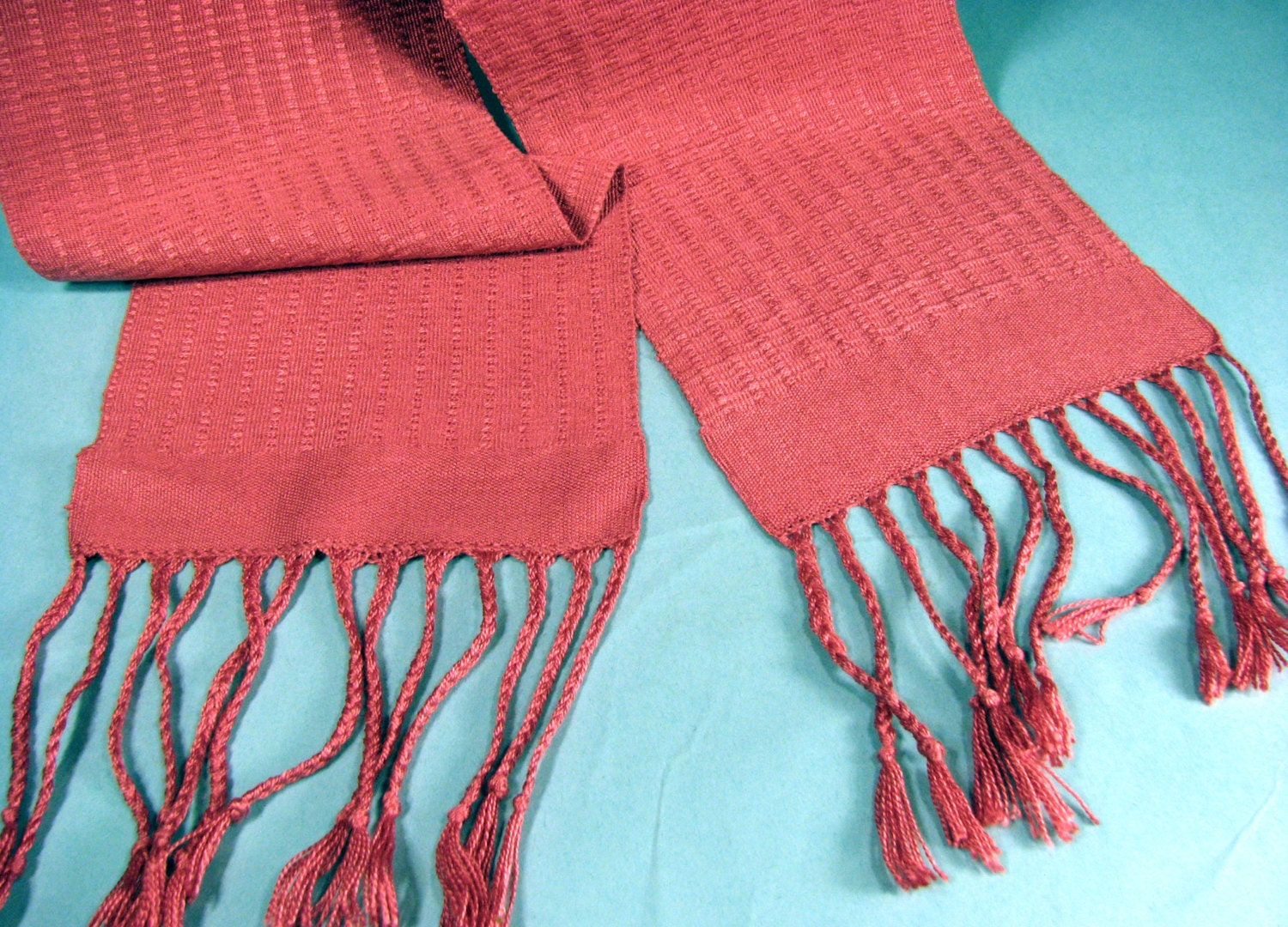 hand woven scarf fringed scarf handmade scarf coral ladies scarf fashion accessory