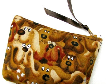 COIN PURSE, Money wallet, Zippered case, Zipper change purse, wallet, brown doggies