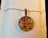 Basketball Necklace Pendant - Dichroic Fused Glass - copper red - Free Shipping