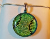 Baseball Necklace Pendant - Softball Necklace Pendant - Dichroic Fused Glass - Gold/Pink - Free Shipping