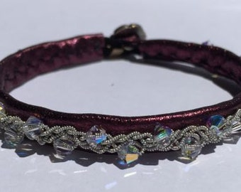 Purple Metallic Leather Ava Bracelet with Clear AB Swarovski Crystals - Leather Tin Thread Bracelet with Reindeer Leather and Button Clasp