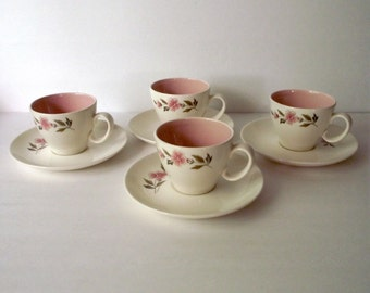 Wild Quince Teacup and Saucer Set of Four Taylor Smith & Taylor Pink MCM