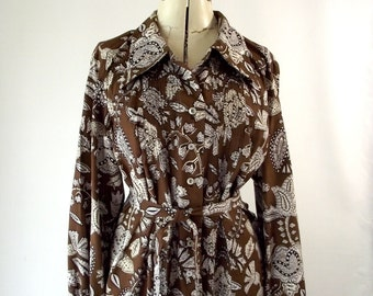 Carol Brent Brown and White Paisley Floral Shirt Dress Medium Large