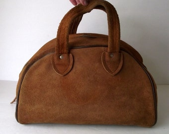 1970s Suede Bowler Bag Purse Doctor Satchel Footed Bag Bohemian Hand Bag with Pouch