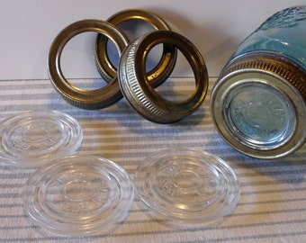 4 Vintage Atlas Jar Canning Lids with Glass Inserts