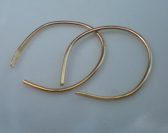 Handmade Gold Filled Simple Hammered Hoops