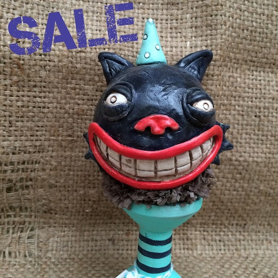 SALE- Bug Eyed Cat Ball Halloween Sculpture on Turquoise Wooden Spool