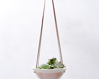 Cherry Blossom Pink Medium Hanging Planter in White Porcelain and Suede // Modern Home Decor for Your House Plant Collection