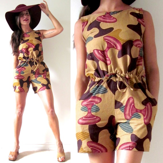 SALE SECTION / 50% off Vintage 80s 90s Abstract Print Romper (size xs, small)