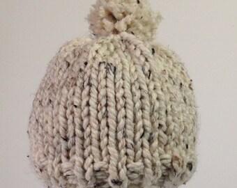 Bobble Beanie, Knit Baby Hat, Pom Pom Baby Hat, Boy hat, Girl hat, Oatmeal