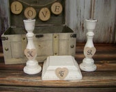 Unity Candle Holders with Initials-Personalized Candle Holders-Rustic-Wedding Decoration-Wood-Bride-Groom-Shabby Chic-Wedding-Handmade