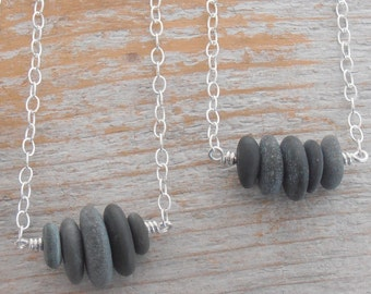 Horizontal rock stack necklace -cairn