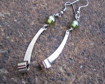 Eco-Friendly Dangle Earrings - Modern Twist - Recycled Vintage Glass Beads in Pale Green and Shiny Curled Silvertone Metal Findings
