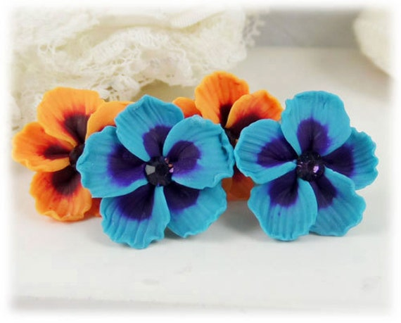 Hibiscus Earrings Studs - Tropical Flower Earrings, Blue Hibiscus, Red Hibiscus, Orange Hibiscus , Hibiscus Jewelry, Hibiscus Clip Ons
