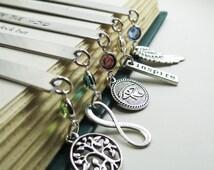 Personalized Bookmark,Teacher, Student Gift Idea, Bridesmaids Gifts, Wedding Date Gift,Metal Bookmark,Keepsake Gift, Birthstone Choice